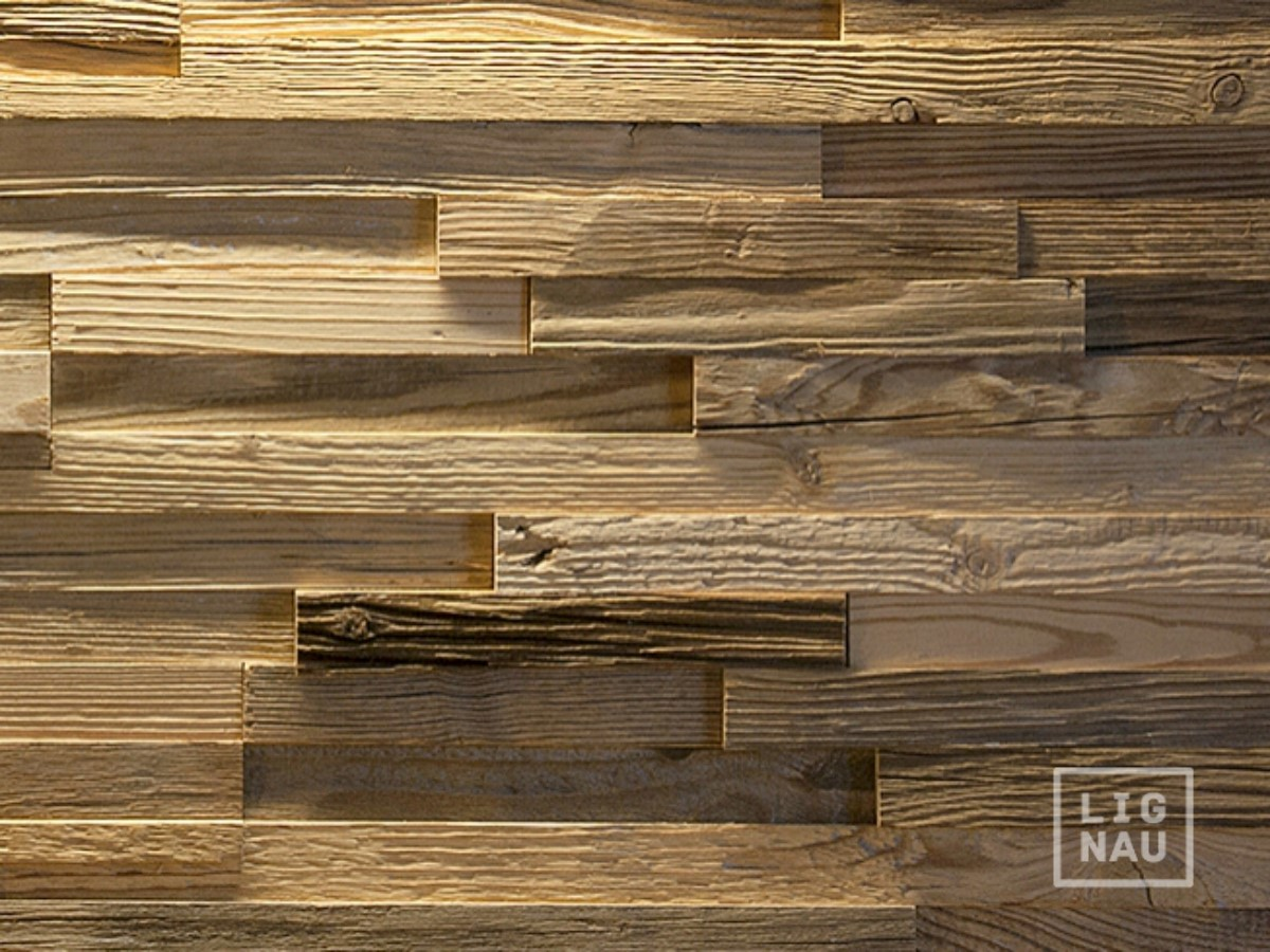 Amazing photo of  Cladding Reclaimed Wood Paneling Recycled 3D Vintage Covering Panel with #AA8421 color and 1200x900 pixels